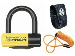 KRYPTONITE NEW YORK LIBERTY DISC LOCK WITH REMINDER CABLE - YELLOW